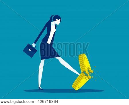 A Businesswoman Kicking A Coin. Worthless Coins