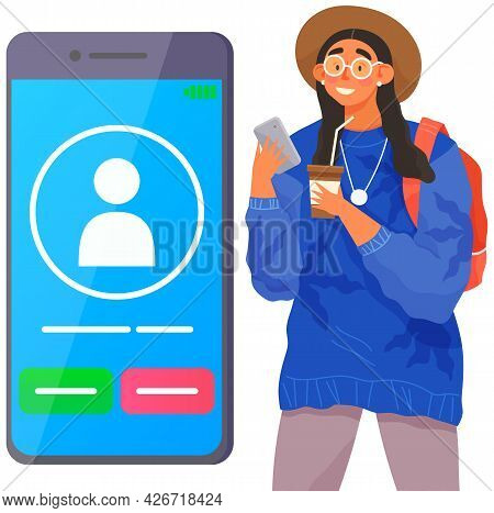 Girl Holds Smartphone And And Pushes Button. Incoming Call On Smartphone Screen. Young Woman Looks A