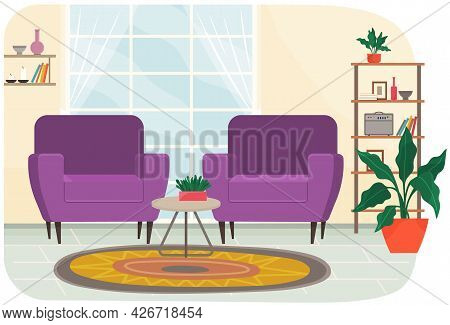 Living Room Interior With Two Colorful Armchairs, Plants And Bookshelf For Relaxing And Podcasting.