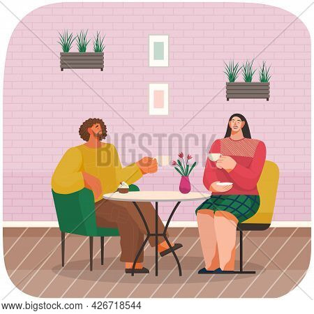 Young Happy Couple In Restaurant Together. Male And Female Communicate Friendly, Drinking Coffee, Si