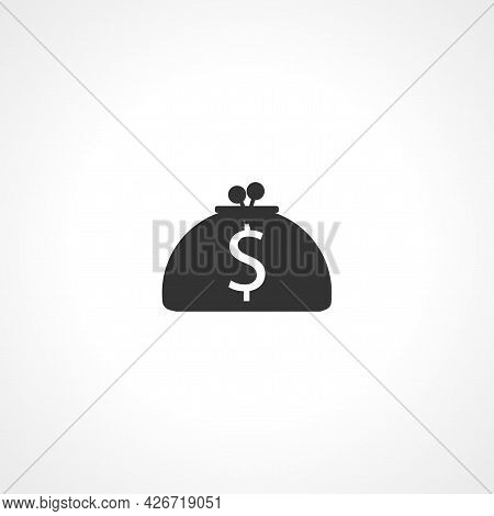 Purse Icon. Money Woman Purse Isolated Simple Vector Icon