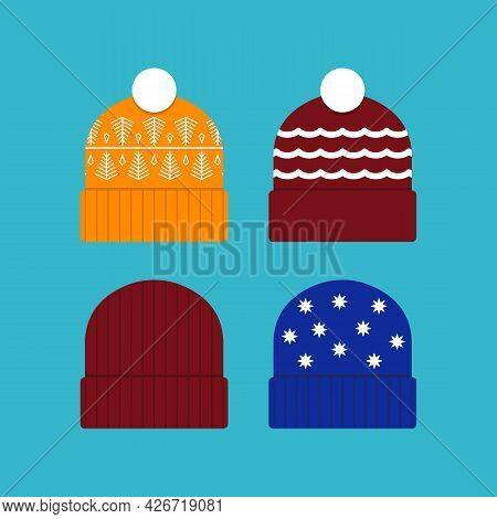 Winter Ski Hat Or Beanie Icon Illustration Set