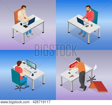 Set Of Illustrations About People Using Their Laptops For Work. Men Sitting And Typing On Computer.