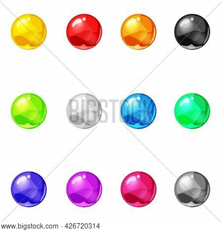 Set Balls Shiny Glossy Colorful Game Asset. Magic Crystal Glass Sphere, Bubbles Shot Elements. Carto