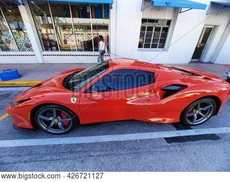 Los Angeles, California Usa - March 24, 2021: Red Ferrari F8 Tributo Luxury Sport Car Top Side View.