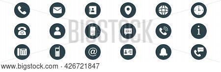 Contact Icons Set. Contact Us Premium Icons. Phone Symbol. Mail Pictogram. Web Illustration