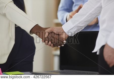 Close Up Of African American Woman Shaking Hands With Caucasian Man Approving Business Deal.