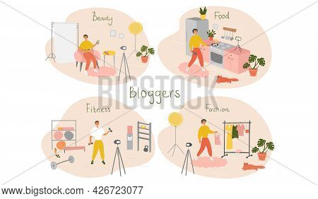 Set Of Male Bloggers And Vloggers Characters Making Internet Content. Men Creating Video For Their B