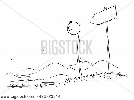Person Walking On The Path, Looking At The Road Or Way, Vector Cartoon Stick Figure Illustration