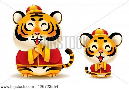 Cute Tiger And Tiger Cub With Traditional Chinese Costume Greeting Gong Xi Gong Xi. Isolated. Transl