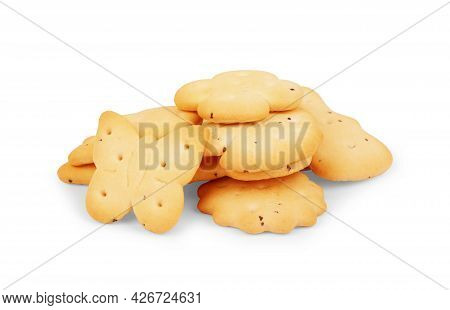 Dry Cracker Cookies Isolated On White Background, Concept Of Food