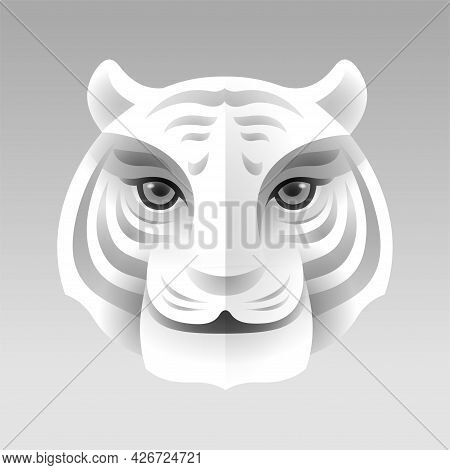 Paper Graphic Art Of Tiger Head, Face.
