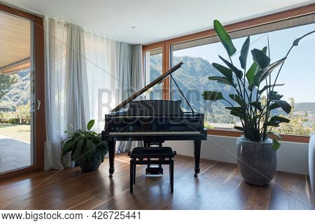 Black piano, patio with garden. Large window overlooking the valley with lake view. Nobody inside