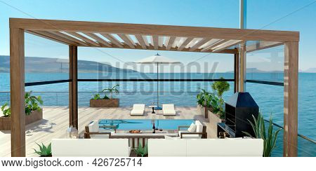3d Illustration Of Luxury Contemporary Outdoor Wooden Patio With Swimming Pool And Sea View. Deck Ch