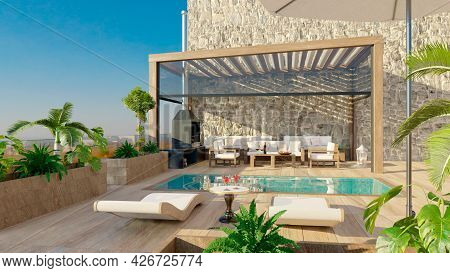 3d Render Of Luxury Contemporary Outdoor Wooden Patio With Swimming Pool.deck Chairs With Umbrella A