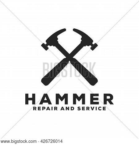 Crossed Hammer Logo Hammer Logo Illustration. Crossed Homer Logo Design Template.
