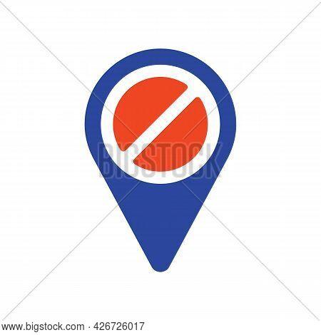 Forbidden Pin Map Glyph Icon. Map Pointer. Demonstration, Manifestation, Protest, Strike, Revolution
