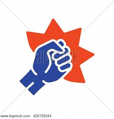 Punch, Raised Up Clenched Fist Vector Glyph Icon. Demonstration, Protest, Strike, Revolution. Graph