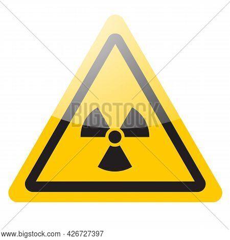 Yellow Warning Nuclear Sign. Radiation Danger Symbol Icon. Vector Illustration