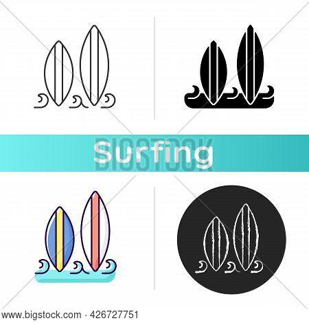 Surfboard Icon. Long, Narrow Board For Surfing Sport Usage. Longboard And Shortboard Type. Recreatio