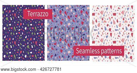 Terrazzo Pattern. Set Of Seamless Marble Prints. Stone Texture. Granite Colorful Floor. Italian Styl