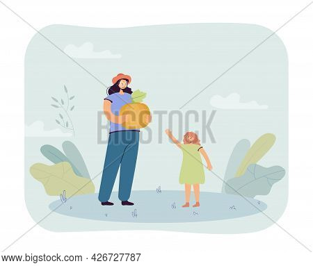 Mother And Daughter With Yellow Pumpkin. Flat Vector Illustration. Woman Holding Big Pumpkin And Lit