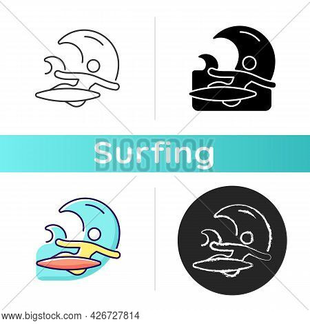 Backhand Bottom Turn In Surfing Icon. Performing Fundamental Manoeuvre. Surfer Back Facing Wave. Bac