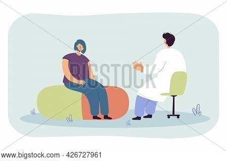 Sad Woman At Doctors Appointment Flat Vector Illustration. Girl Sitting In Front Of Man In White Coa