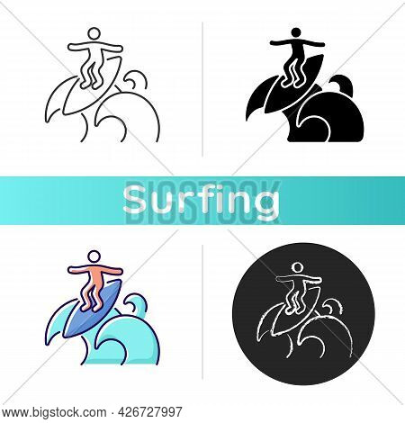 Floater Surfing Technique Icon. Riding Over Breaking Wave Top. Performing Advanced Level Manoeuvre.