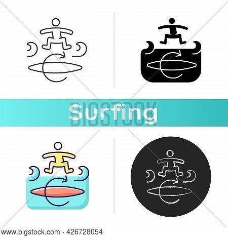 Kickflip Surfing Technique Icon. Performing Flip Trick On Surfboard. Board Spinning Clockwise. Maneu