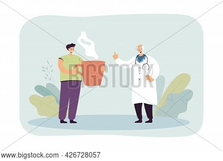 Doctor In White Coat And Man With Huge Cup. Flat Vector Illustration. Physician With Stethoscope Giv