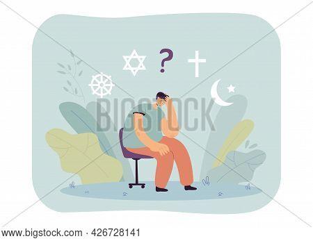 Cartoon Man Choosing Religion Flat Vector Illustration. Man Thinking About World Religions, Symbols
