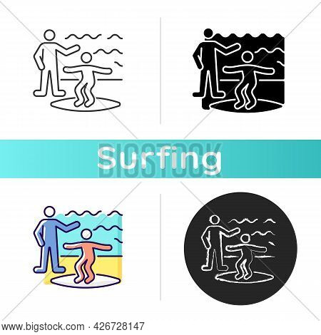 Surfing Lessons Icon. Taking Surf Classes From Experienced Surfer. Learning Process. Studying Surfin