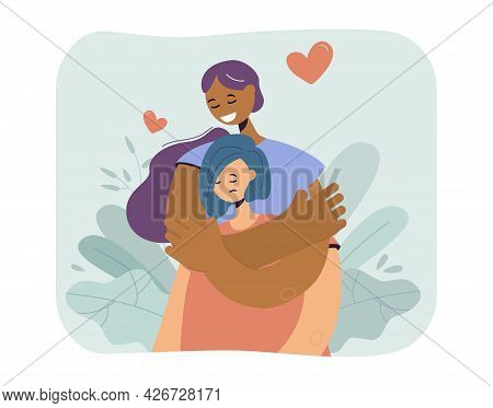 Happy Girl Hugging Sad Girlfriend. Flat Vector Illustration. Unhappy Woman Receiving Love And Suppor