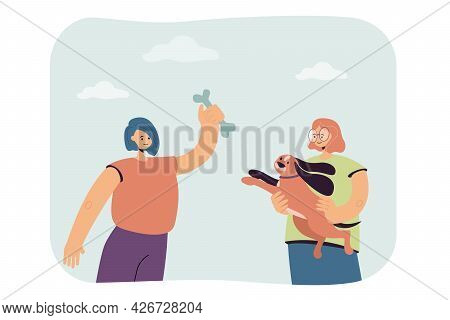 Girls Playing With Dog Flat Vector Illustration. One Woman Holding Pet In Her Arms, Second Holding T