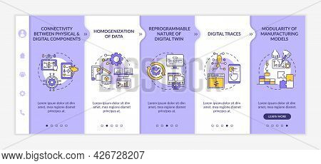 Digital Twin Characteristics Onboarding Vector Template. Responsive Mobile Website With Icons. Web P