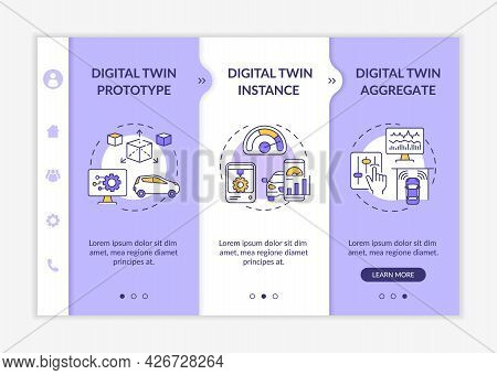 Digital Twin Types Onboarding Vector Template. Responsive Mobile Website With Icons. Web Page Walkth