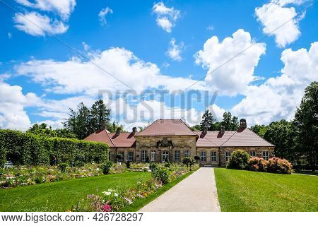 Old Palace In Hermitage Garden, Bayreuth, Germany. Selective Focus