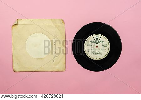 Old Gramophone Record By The Popular Soviet Songs. 8-inch Vinyl From The Akkord Factory In Leningrad
