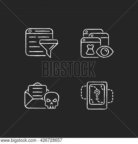 Network Surveillance Chalk White Icons Set On Dark Background. Filter Bubble. Online Behavioral Trac