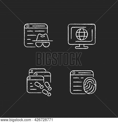 Online Censorship Chalk White Icons Set On Dark Background. Private Browsing. Digital Trail. Browser