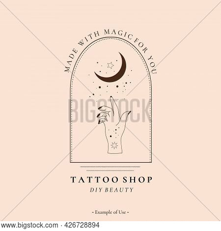 Celestial Spiritual Alchemy Esoteric Mystical Magic Talisman With Woman Hand, Moon, Stars Sacred Geo