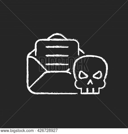 Email Phishing Chalk White Icon On Dark Background. Online Scam. Cyber Attack By Sending Malicious E
