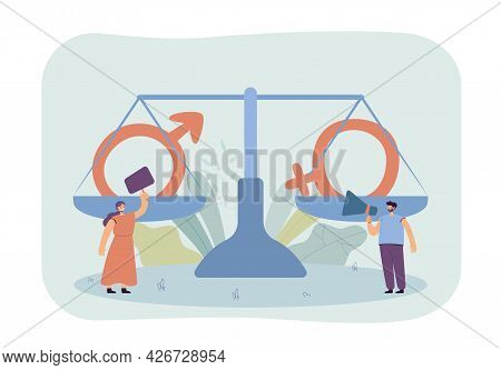 Tiny Man And Woman Fighting For Rights. Flat Vector Illustration. Huge Scales With Male And Female S