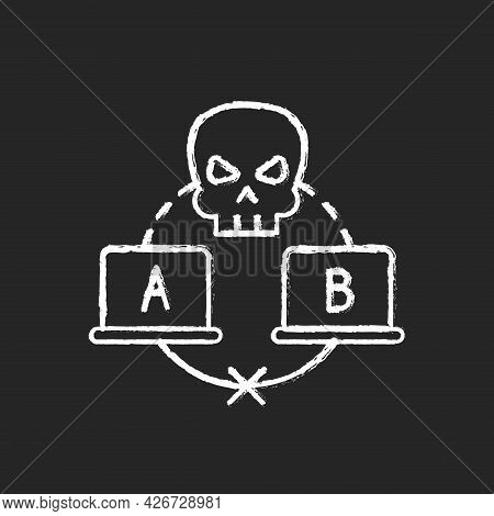 Sniffing Attack Chalk White Icon On Dark Background. Illicitly Data Capturing And Decoding. Retrievi
