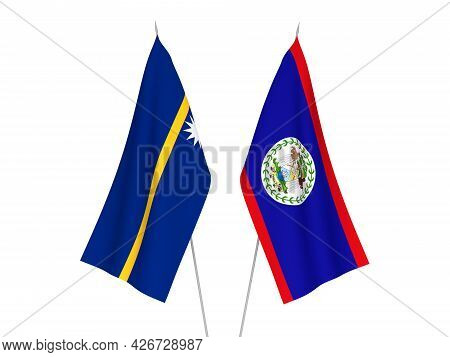 National Fabric Flags Of Republic Of Nauru And Belize Isolated On White Background. 3d Rendering Ill