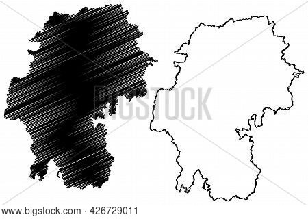 Ilm-kreis District (federal Republic Of Germany, Rural District, Free State Of Thuringia) Map Vector