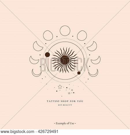 Celestial Alchemy Esoteric Mystical Magic Talisman With Sun, Moon Phases, Stars Sacred Geometry Tatt