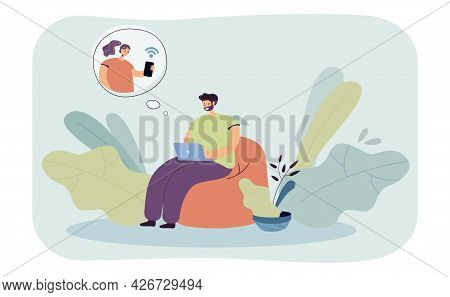 Man Sitting In Easy Chair, Communicating Online. Flat Vector Illustration. Person Using Internet, Ch