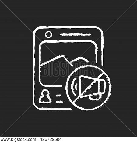 Social Media Censorship Chalk White Icon On Dark Background. Restrict Access To Harmful Groups. Sile